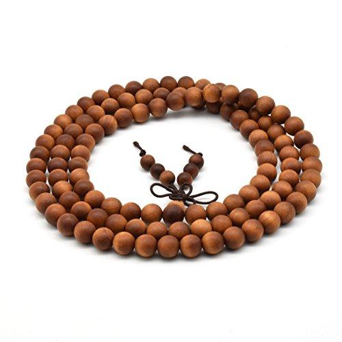 Zen Dear Unisex Teak Wood Prayer Beads Buddha Buddhist Beads Necklace Bracelet Beads (8mm 108 beads)