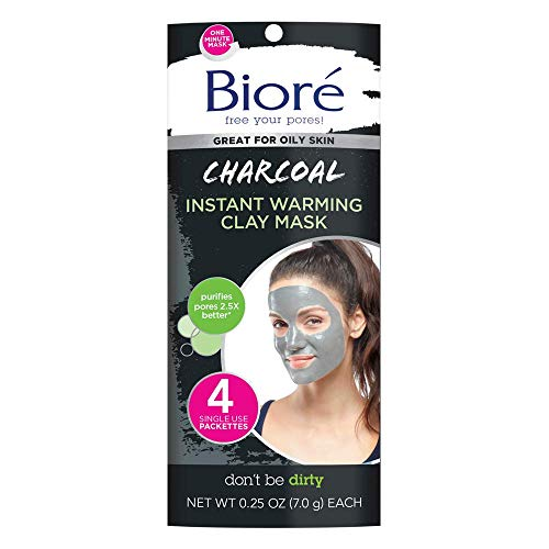 Bioré Charcoal Instantly Warming Clay Facial Mask for Oily Skin, 4 Count, with Natural Charcoal, Cleanse Clogged Pores, Dermatologist Tested, Non-Comedogenic, Oil Free