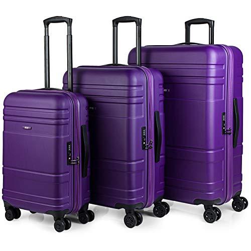 JASLEN - Juego de Maletas de Viaje rígidas 4 Ruedas Trolley abs. s duraderas y Ligeras. candado TSA. pequeña Cabina Mediana y Grande XL 73100, Color Morado