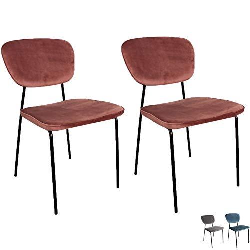 Nimara Juego de 2 Sillas de Comedor de Terciopelo y sillas d
