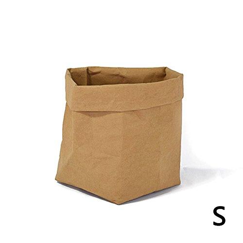 Fastar lavable Kraft Sac en papier résistant aux déchirures Boîte de rangement pliable Sac en papier Succulents de pommes de terre Pot de fleurs Coque Jouets à linge Fruits organisation, jaune, Small