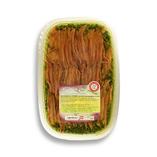Filetti di acciughe in Salsa verde con olio extravergine d'oliva EVO, (Confezione 1 pz. da Kg) -SAG