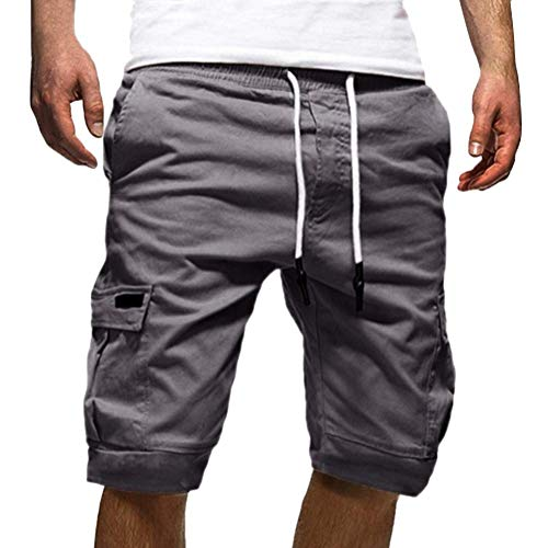 Onsoyours Herren Cargo Hose Shorts Sommer Freizeit Bermuda Kurze Hose Chino Training Jogging Hose Mit Kordel Regular Fit M Grau Medium