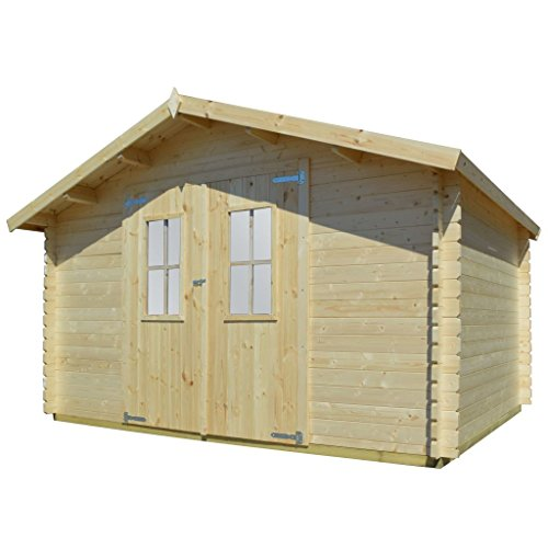 vidaXL Solid Wood Garden House Shed Log Timber Cabin 34mm 4x3m Tool Store Room