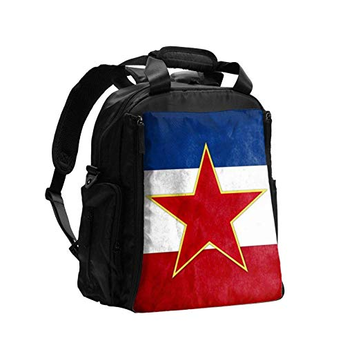 Jugoslawische Flagge Wickeltasche Rucksack mit Wickelunterlage Multifunktionale Baby Wickeltaschen Mutterschaft Wickeltaschen Große Kapazität für Mama Papa Reise Pflege