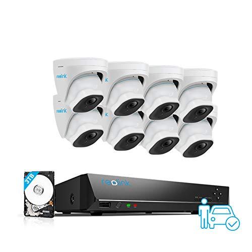 Reolink 16CH 4K Ip Poe Kit de videovigilancia, Sistema di Vigilancia inteligente de detección de personas/vehículos, NVR HDD de 3 TB con cámara de poe externa de 8X8MP, grabación 24/7, RLK16-820D8-A
