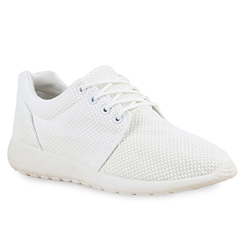 stiefelparadies Men Sports Shoes Running Shoes Tread Sole 130852 White UK 5.5 EU 39 Flandell