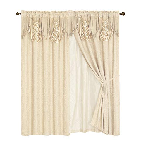 Check Price Luxury Embroidered Curtain Set 4 Piece Cream Beige Drapes With Backing Amp Valance Tie Backsb009jm8sww Disney Mickey Mouse Clubhouse Full Sheet Enthrone Sda