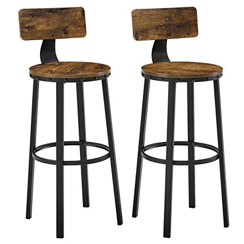 VASAGLE Bar Stools, Tall Bar Chairs with Backrest, Set of 2 Kitchen Stools, Heavy-Duty Steel Frame, 28.8-Inch High, Easy…