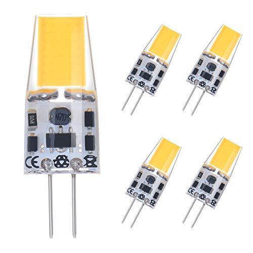 Vicloon G4 LED Bombilla de COB,3W G4 Luz Lámpara Equivalente a Lámpara Halógena 30W, Blanco Cálido/AC/DC 12V / 3000K / 250lm/ Hecho de Silicona,Paquete de 5 [Clase de Eficiencia Energética A++]