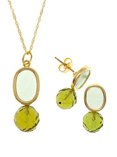 Córdoba Jewels | Conjunto de Gargantilla y Pendientes en Plata de Ley 925 bañada en Oro. Diseño Kiut Olivina Oro Facetada