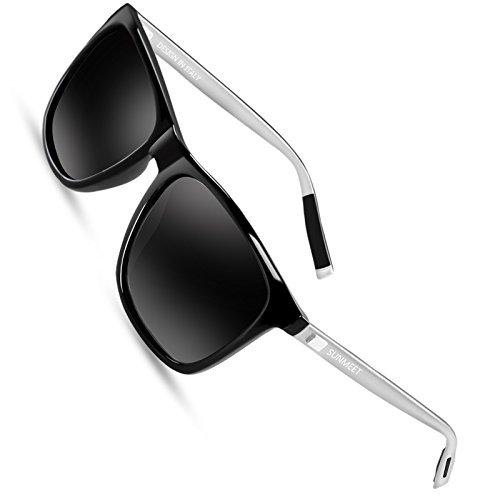 Sunmeet Gafas de sol Hombre Polarizadas Clásico Retro Gafas de sol para Hombre UV400 Protection S1001(Negro/Plateado)