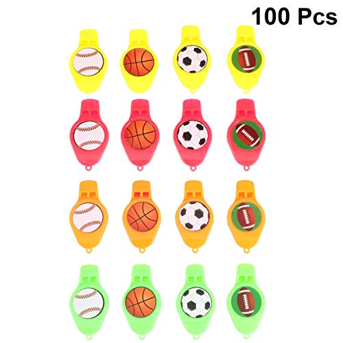 Affordable TOYANDONA 100pcs Plastic Referee Whistles Kids Noise Maker Blowouts Party Blowers Birthda...