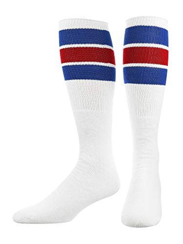TCK Retro 3 Stripe Tube Socks (Royal/Red, Large)