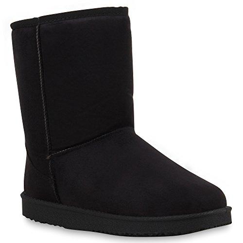 Warm Gefütterte Damen Stiefel Boots Schlupfstiefel Kunstfell Schuhe 59983 Schwarz Camiri 39 Flandell