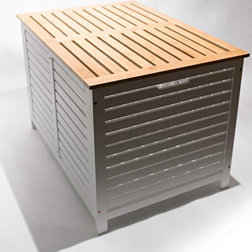 Limal Wäschesammler mit 2 Kammern Bambus Wäschekiste Wäschetruhe Wäschekorb mit Deckel weiß 60 x 70 x 55 cm - 3