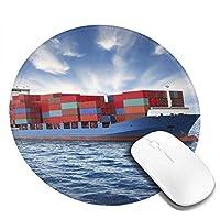 Mouse pad コンテナ船 海 雲 円型マウスパッド パソコン テーブルクロス 周辺機器 かわいい柄 滑り止め 防水 おしゃれ オフィス用 ゲーム用