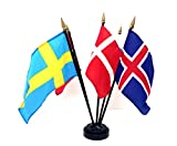 Made in The USA!! Scandinavia Flags- Set of 5 Rayon 4'x6' Flags with a 5-Hole Base, 4x6 Miniature Scandinavian Desk & Table Flags, Small Mini Stick Flags (Black 5-Hole Base)