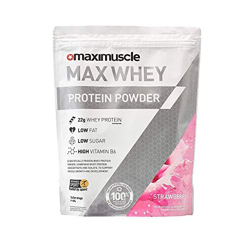 Maximuscle Max Whey Protein Powder Strawberry Flavour, 480 g