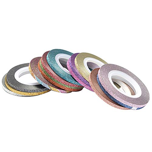 14 Farben-Mischfarben-Nagel-Striping Tape-Polier Abziehbilder Foil Tipps Linie Matteffekt Glitter Styling-Aufkleber für DIY-Entwurfs-Nagel, Nagel Grind Gold- und Silber-Linien für die Nagel-Werkzeuge