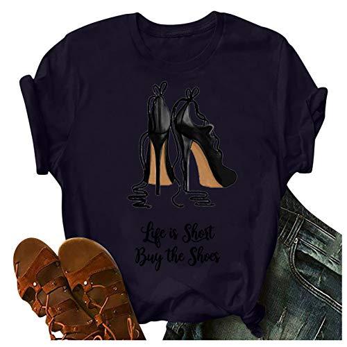 Damen Sommer T-Shirt Basic High Heels Drucken Kurzarm O-Ausschnitt Lockere Tops Casual Oberteile Solide Shirts