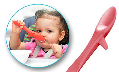 INVENTO Kleckerfreier Baby Lernlöffel, weicher Kinderlöffel für das sichere selber Essen von z.B. Suppen und Brei, aus lebensmittelechten Silikon, ideal für BLW, Farbe: Peach Pink