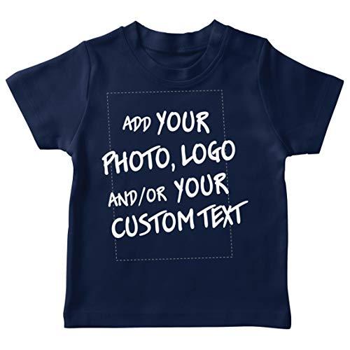 lepni.me Camiseta para Niño/Niña Regalo Personalizado, Agregar Logotipo de la Compañía, Diseño Propio o Foto (7-8 Years Azul Oscuro Multicolor)