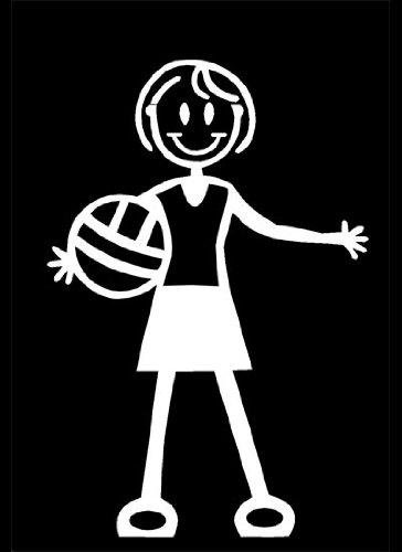 My Stick Figure Family Familie Auto aufkleber Sticker Decal älteres Mädchen mit Volleyball TG4