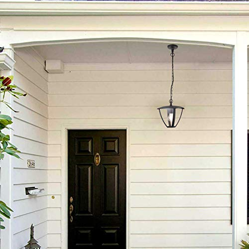 CGC - Farol de techo suspendido para exteriores con rosca estándar E27, IP54, resistente a la intemperie, para porche, patio, puerta, jardín, tradicional, contemporáneo