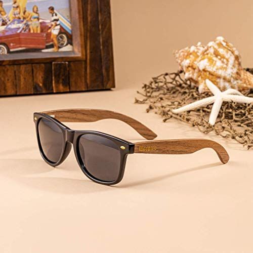 WOODIES Wood Sunglasses with Dark Polarized Lenses 100% UVA/UVB Ray Protection for Men and Women