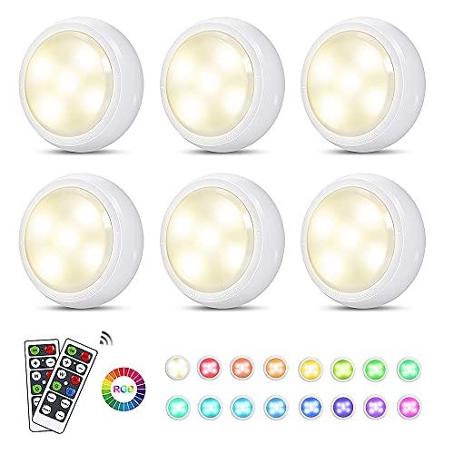 JAOK LED Puck Light con telecomando – RGB LED che cambia colore sotto armadietto – luci LED a controllo tattile alimentate a batteria, per cucina soggiorno (confezione da 6)