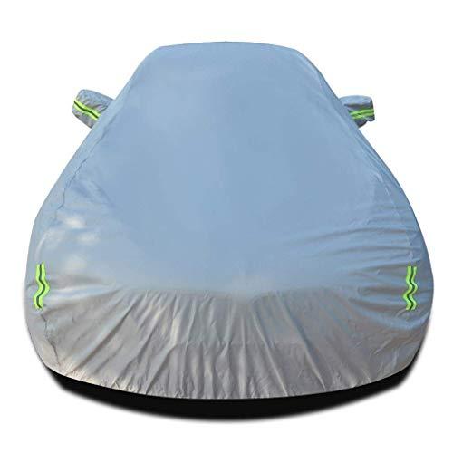 Elise beschermhoes voor Volkswagen CC, waterdicht, UV-zonwering, krasbestendig, voor alle weer- en outdoor-activiteiten, ademend, voor voorruit, stofcover (kleur: zwart) (kleur: zilver)