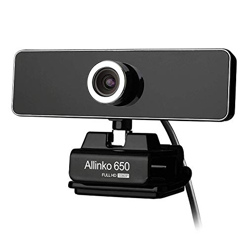 Allinko 610 Webcam 1080P Full HD, USB Web Camera with Mic Compatible with Windows 10 8 7 XP Mac OS X, Skype Webcams for Laptop PC iMac MacBook Pro, Plug and Play