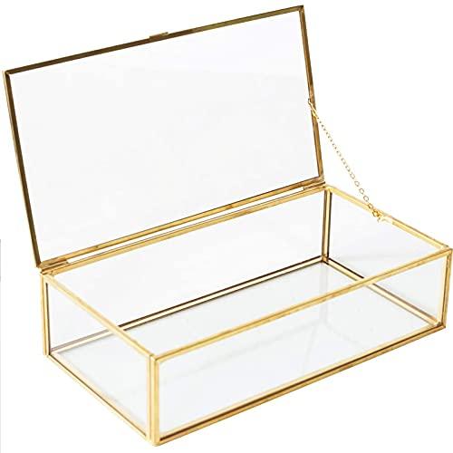 Joyas Caja Transparente,Caja de Vidrio Geométrica Adornos,Transparente de Cristal Organizador de Caja,Caja Rectangular de Cristal con Tapa de Oro,para Baño Tocador Cosméticos y Almacenamiento
