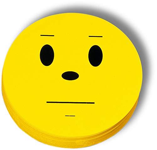 nobo® Moderationskarte, Bewertungssymbol neutral, Ø: 10 cm, 170 g/m², gelb (100 Stück), Sie erhalten 1 Packung á 100 Stück