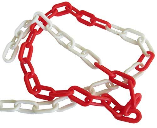 Kunststof ketting rood/wit metergoed afsluitketting (6x39x20mm) - 3m 5m 10m 25m meter - lengte naar keuze, 25m