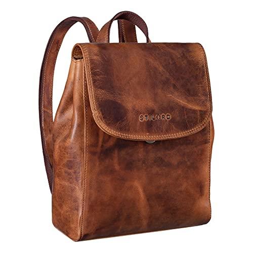 STILORD 'Hazel' Frauen Rucksack Elegant Leder Daypack Kleiner Lederrucksack Vintage Cityrucksack Rucksackhandtasche für 13,3 Zoll MacBook Echtleder, Farbe:Kara - Cognac