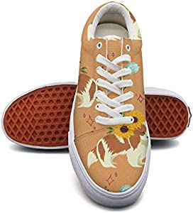 LadySunflower and Dog Canvas Shoes Low-Cut Straps Classic Sneakers Suitable for Walking