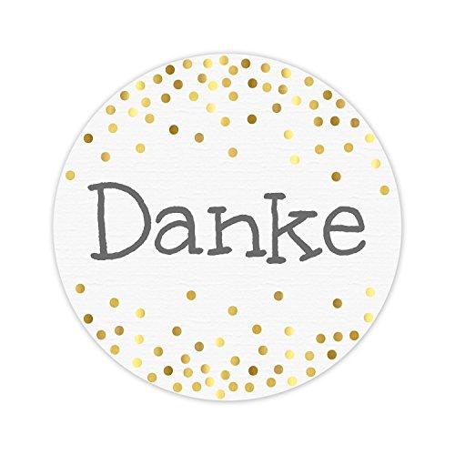 KuschelICH 50 Aufkleber Danke aus Premium-Strukturpapier mit golden glänzenden Punkten - weiß/grau/gold - rund 5 cm Durchmesser (50 Stk, Danke)