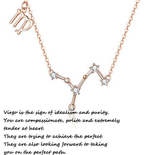 925 Mujer Collares Plata De Ley 12 Constelaciones Colgantes Signos Astrológicos Zodiacos para El Cumpleaños Día De La Madre Joyas De Exclusivo para Regalo Boda Novia,Vigo