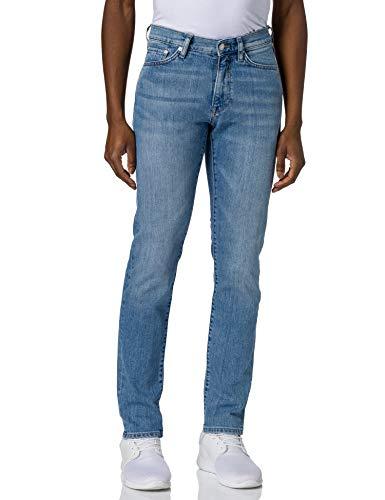 GANT Slim Jeans Pantalones Ajustados, Light Blue Worn in, 28W x 32L para Hombre