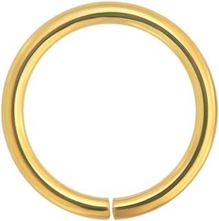 14k Oro Solido 18 Gauge - 6MM di Diametro Cerchio Aperto Continuo Senza Cuciture Naso Anello Piercing da Naso