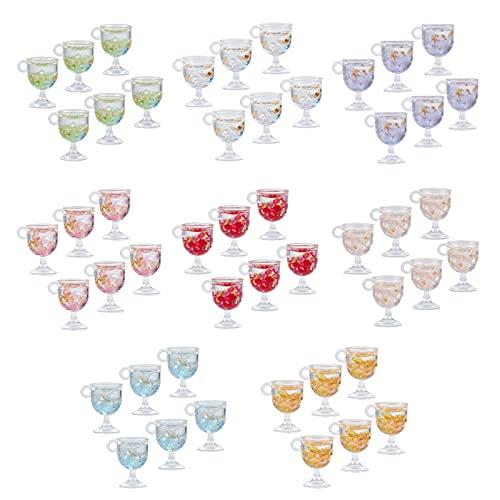 NBEADS 48 pezzi pendenti in tazza in resina, ciondoli a tazza con lamina orecchino di frutta Charms Mini bicchiere di vino Charms coppa di vino pendenti per la creazione di gioielli