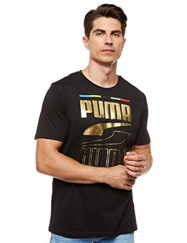 PUMA Rebel tee 5 Continents Camiseta, Hombre, Negro, XL