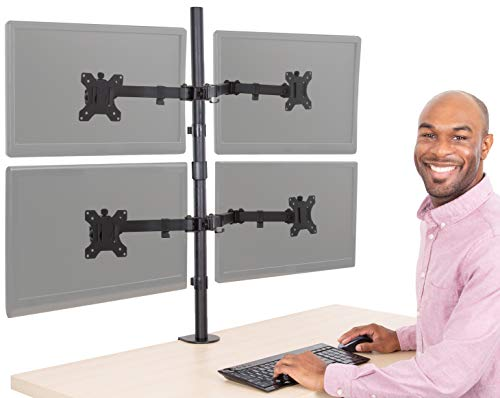 Stand Steady 4 Monitor Mount Desk Stand | Height Adjustable Four Monitor Stand with Desk Clamp| Full Articulation VESA Mount Fits Most LCD/LED Monitors 13-32 Inches (4 Arm Clamp)