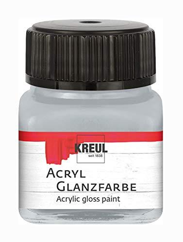 Kreul 79216 – Peinture acrylique brillante, 20 ml, verre argenté, peinture acrylique lisse et brillante pour peindre et bricoler, à base d'eau, résistante à la salive, séchage rapide et couvrante