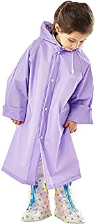 Feoya Kids Girl Boy Rain Poncho Portable Raincoat Hooded Rain Jacket for Outdoor