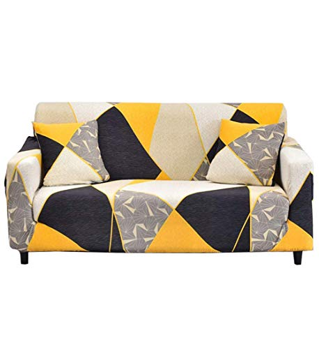 Couch Cover Stretch Sofa Slipcover - Fitted Sofa Cover Stylish Loveseat Slipcover Sectional Couch Covers with 2 Pillow Cases Spandex Fabric Sofa Covers for 2 Cushion, Block-4 Seater/Large 3 Seater -  HoneiLife