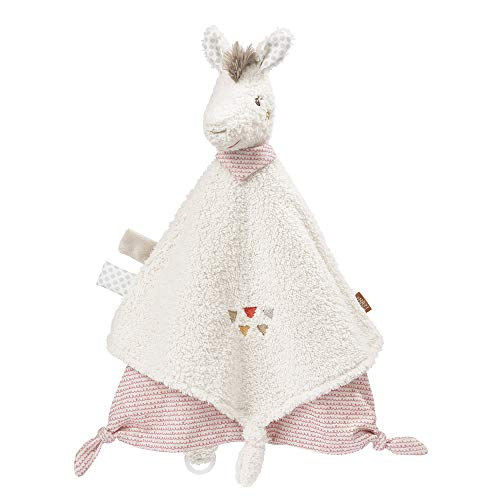 Fehn 058093 Schmusetuch Lama Deluxe – Weiches Nuckeltuch mit Lama-Köpfchen und Schnuller-Befestigung – Lädt zum Befühlen und Erkunden ein – Für Babys ab 0 Monaten – Größe: 34 cm