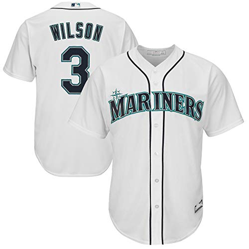 MLB X NFL Official Crossover Youth 8-20 Cool Base White Home Player Replica Jersey (Medium 10/12, Russell Wilson Seattle Mariners)